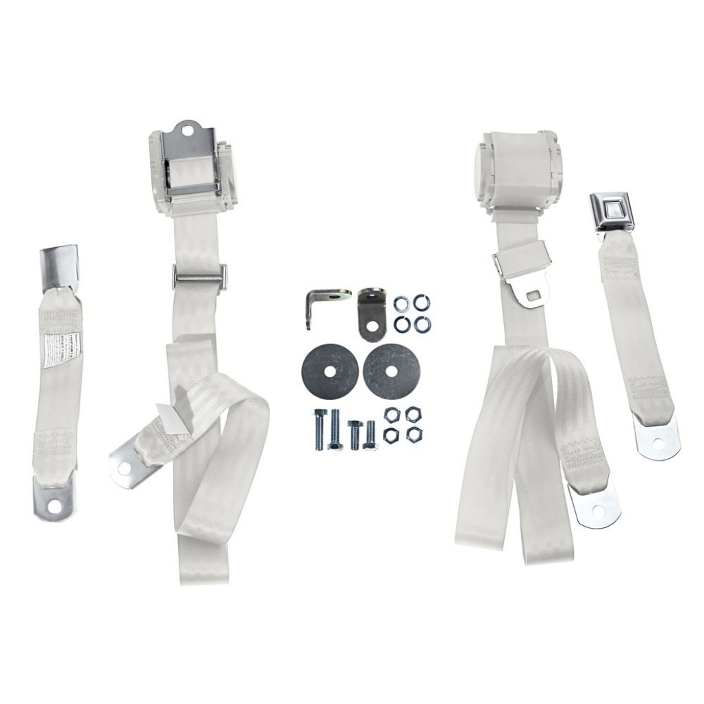 Seat Belts - OFF WHITE - Three Point - Assembly - Pair ~ 1967 - 1973 Mercury Cougar / 1967 - 1973 Ford Mustang